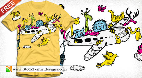 Cartoon Animals Riding Airplane T-shirt Design by stockt-shirtdesigns