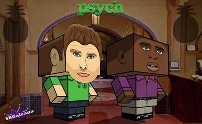 Psych Shawn and Gus cubeecrafts by SKGaleana