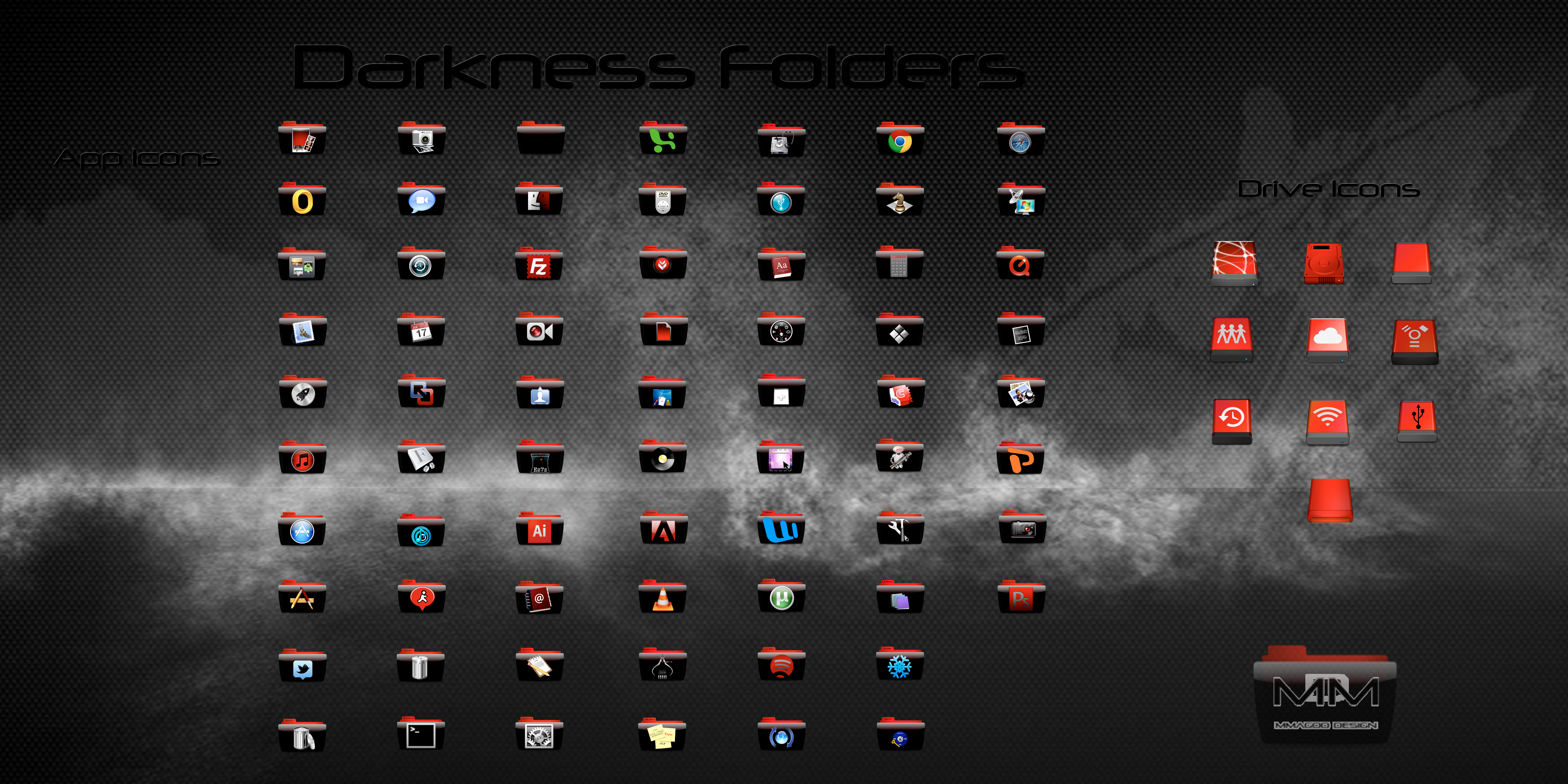 Darkness Folders for OSX (Full Icon Set) by Mmagoo