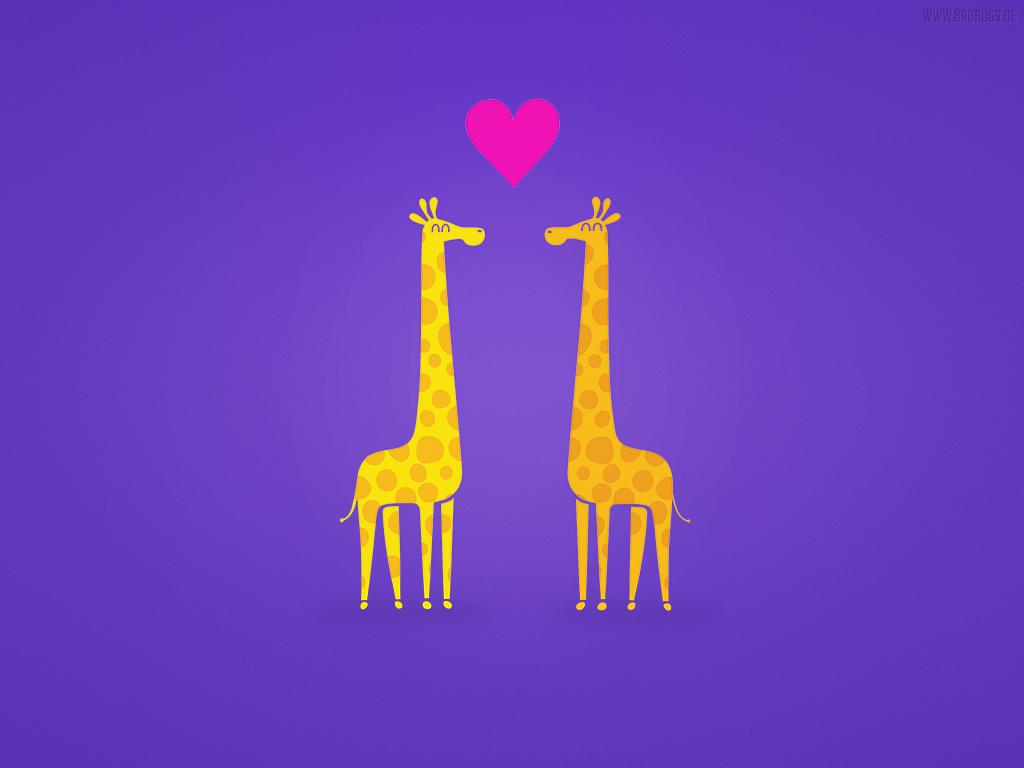 Free Wallpaper Cute cartoon giraffe couple in Love by mrsbadbugs