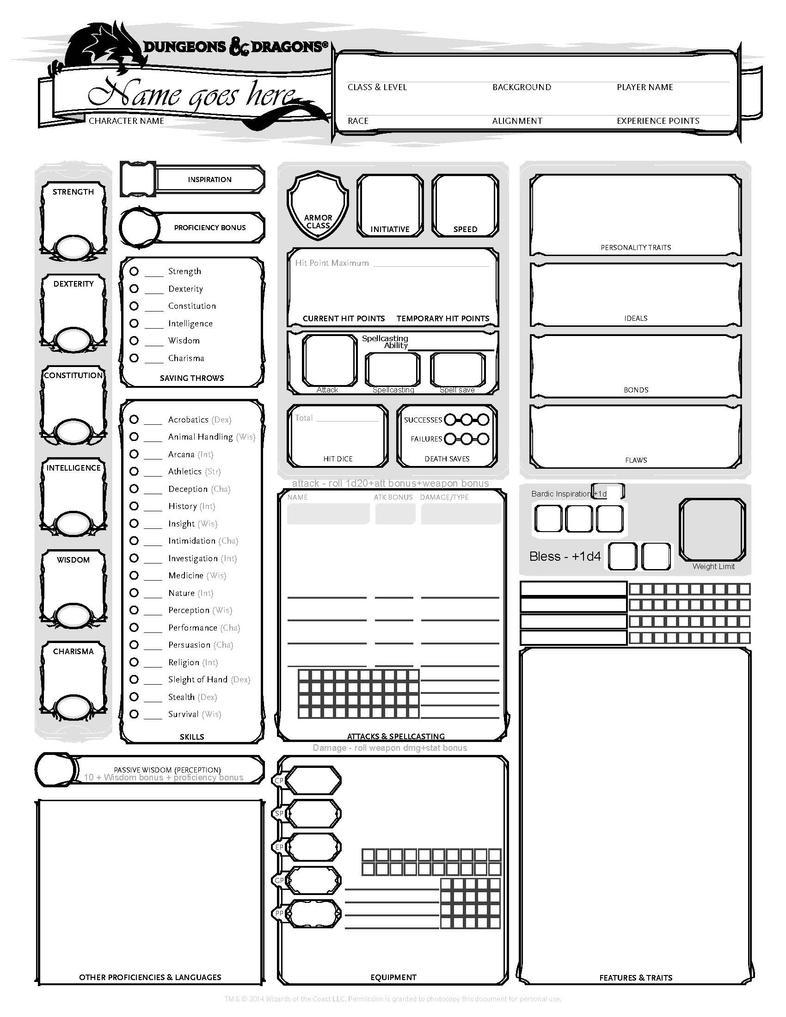 DnD 5E CharacterSheet - blank by DragonKinfolk