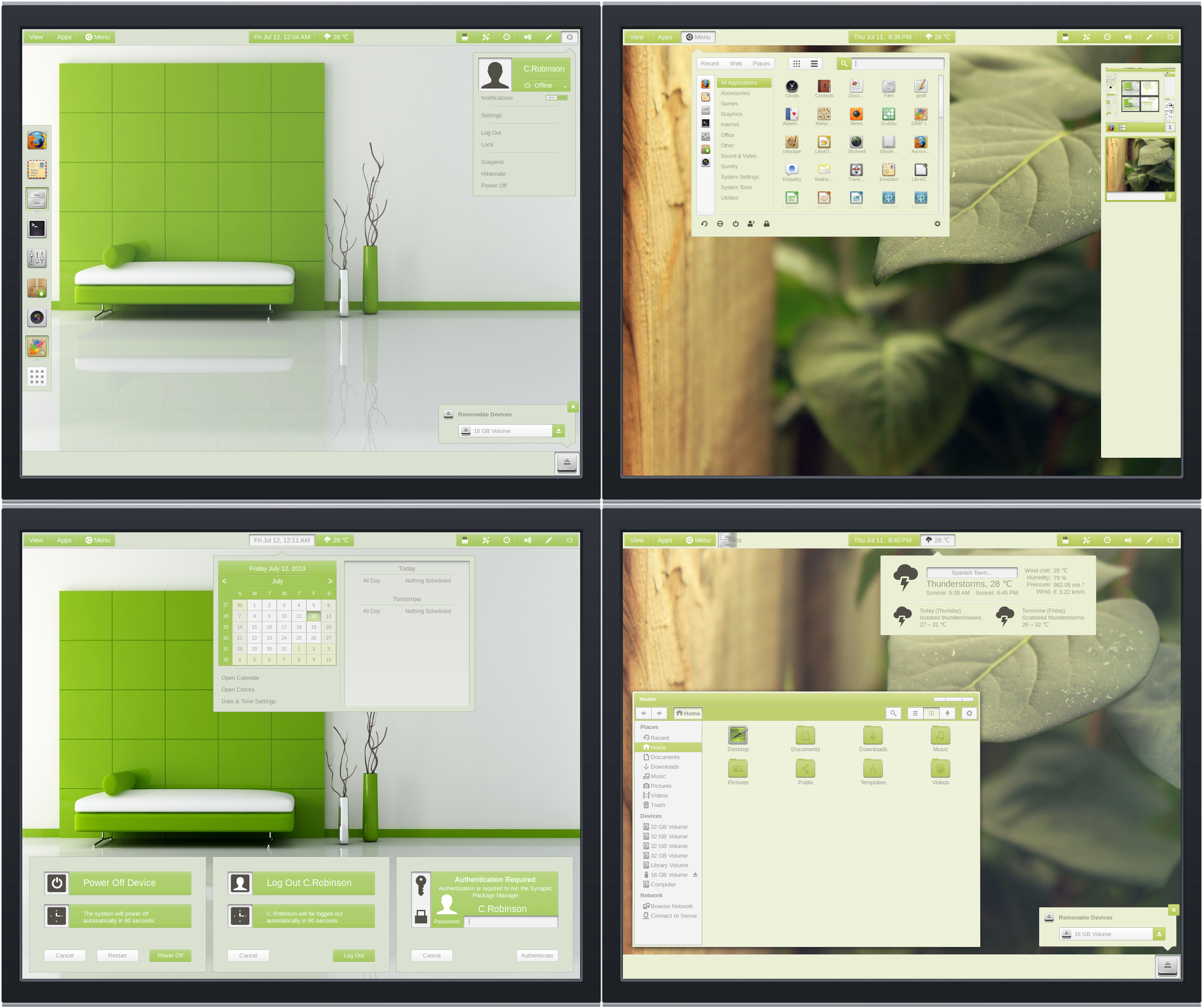 Gnome Shell 3.8  Panacea Green ( Lime and Olive )
