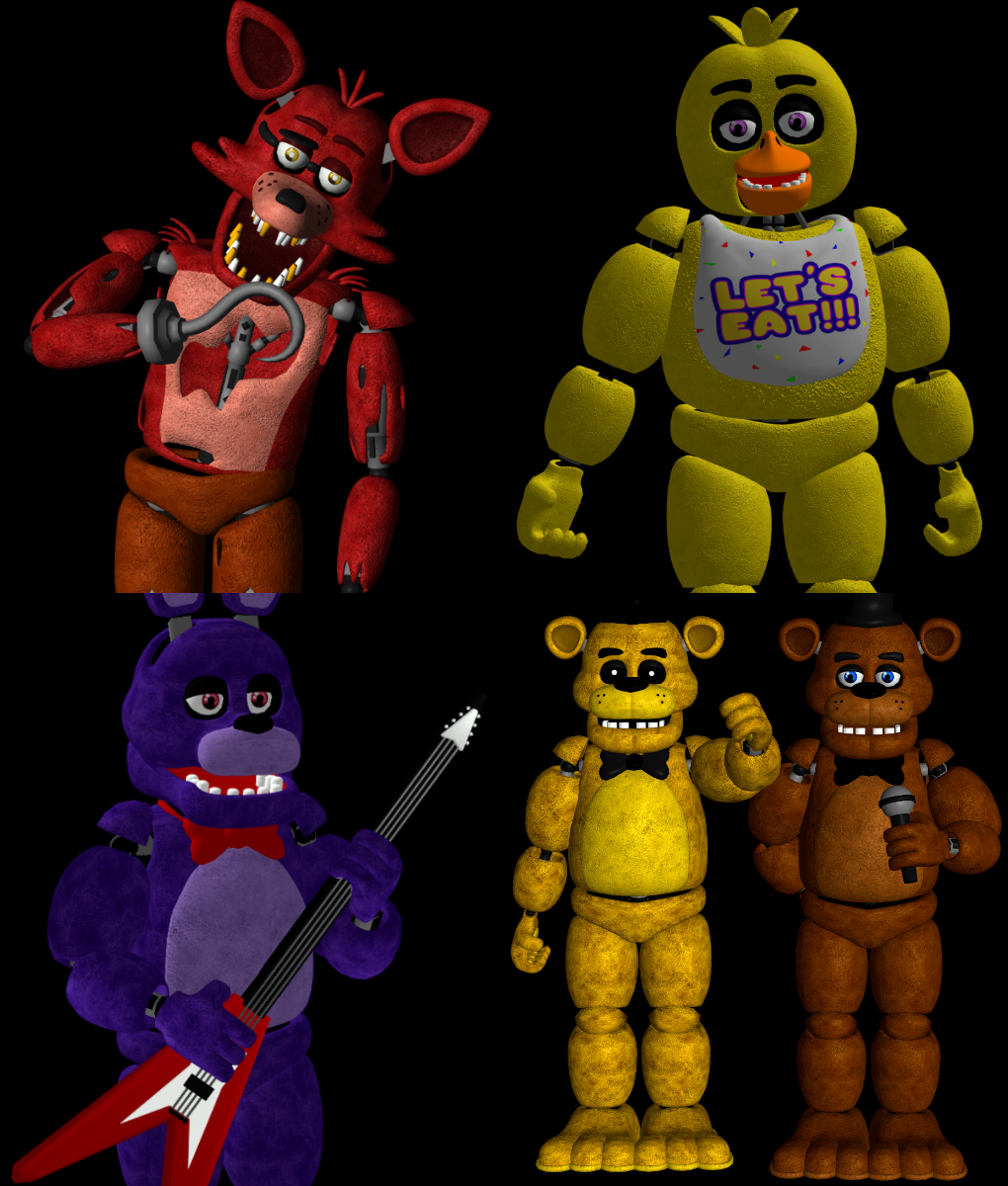 FNAF 1 Animatronics Pack By RealMoonlight On DeviantArt