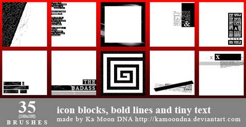 35 Icon blocks, bold lines and tiny text
