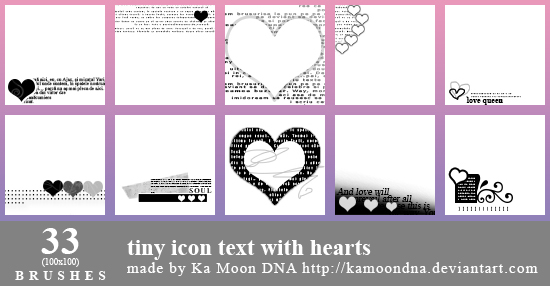 33 tiny icon text with hearts brushes by KaMoonDNA