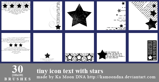 30 tiny icon text with stars brushes by KaMoonDNA