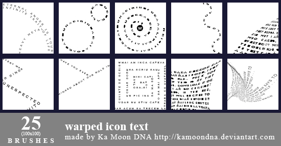 25 warped icon text brushes by KaMoonDNA