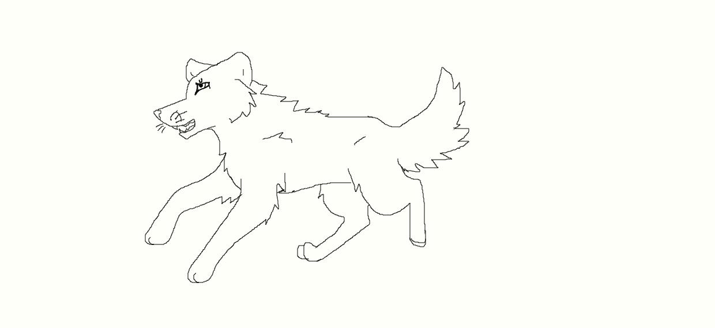 Running wolf line art by NeonCandyLights