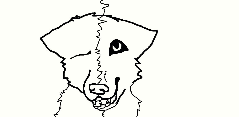 Split sides wolf line art by NeonCandyLights