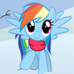 Rainbow Dash Helps Build Snowman by Yunguy1