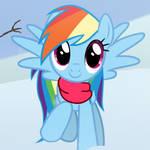 Rainbow Dash Helps Build Snowman