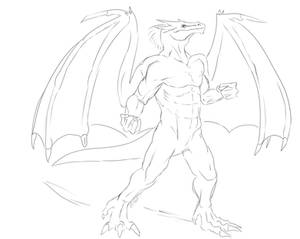 free anthro dragon lineart