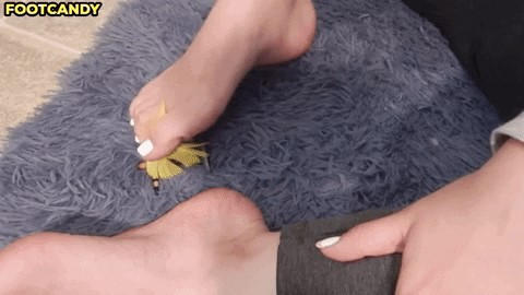 Giantess Tickles you with her foot GIF