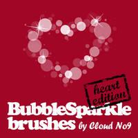 BubbleSparkle Heart Brushes by cloud-no9