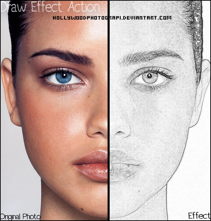 Photoshop Photo Line Art Effect : Draw effect photoshop action by hollywoodphotograpi on