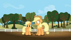 Apple Jack and... Filly Applejack? Animation Test! by TreakleFurs