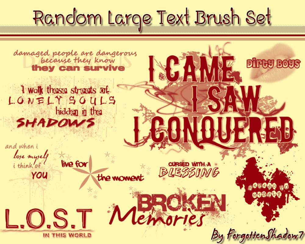 Random Large Text Brush Set by ForgottenShadow7