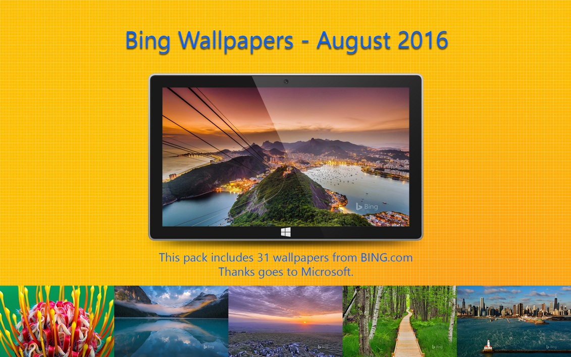 Bing Wallpapers - August 2016 by Misaki2009