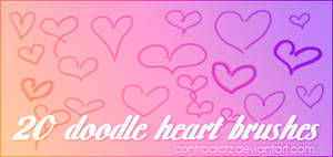 20 Doodle Heart Brushes by contradictz