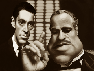 Godfather - 2 Corleones caricature painting