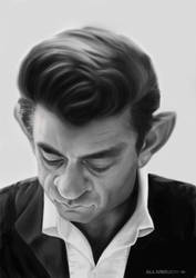 Johnny Cash caricature painting