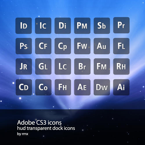 Hud transparent AdobeCS3 icons by realmotion