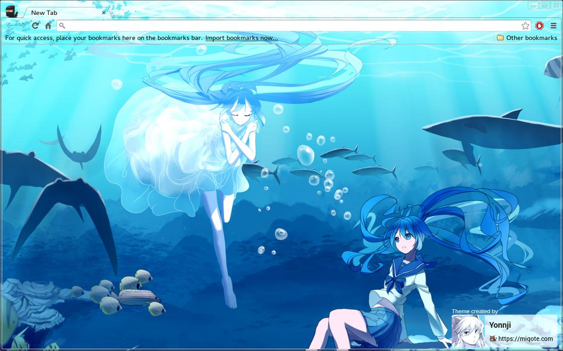 Gmail hatsune miku theme - Hatsune Miku Underwater Chrome Theme By Yonnji