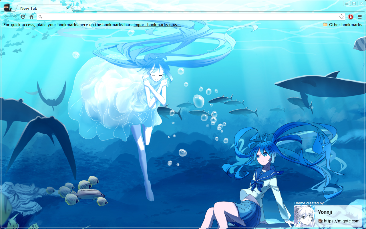 Google themes blue -  Hatsune Miku Underwater Chrome Theme By Yonnji