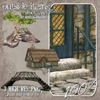 Bridge Cottage and Tree by angellella-stock