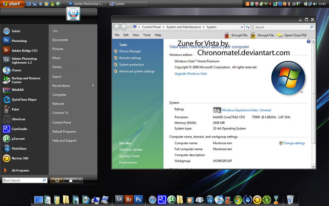 Zune theme_For Vista by Chronomatel