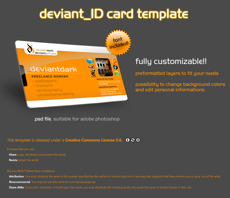 Deviant_ID Card Template By Deviantdark ...  Membership Card Template