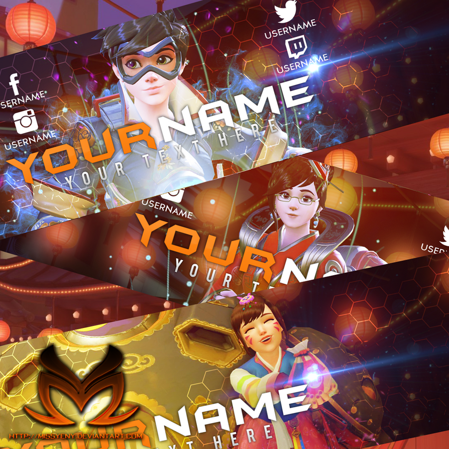 Free Banner for YouTube No.3 |Tracer, Mei, DVa by MissYeny
