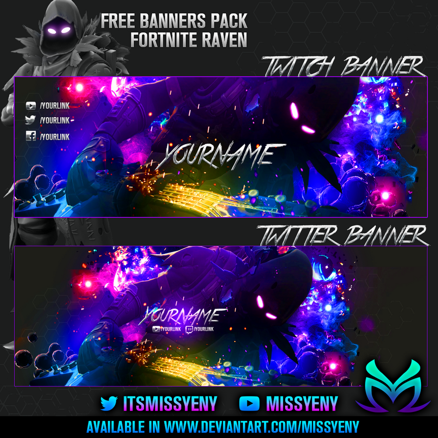 Free Twitch And Twitter Banner Raven Fortnite By Missyeny On