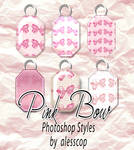 6 Pink Bow Styles Set