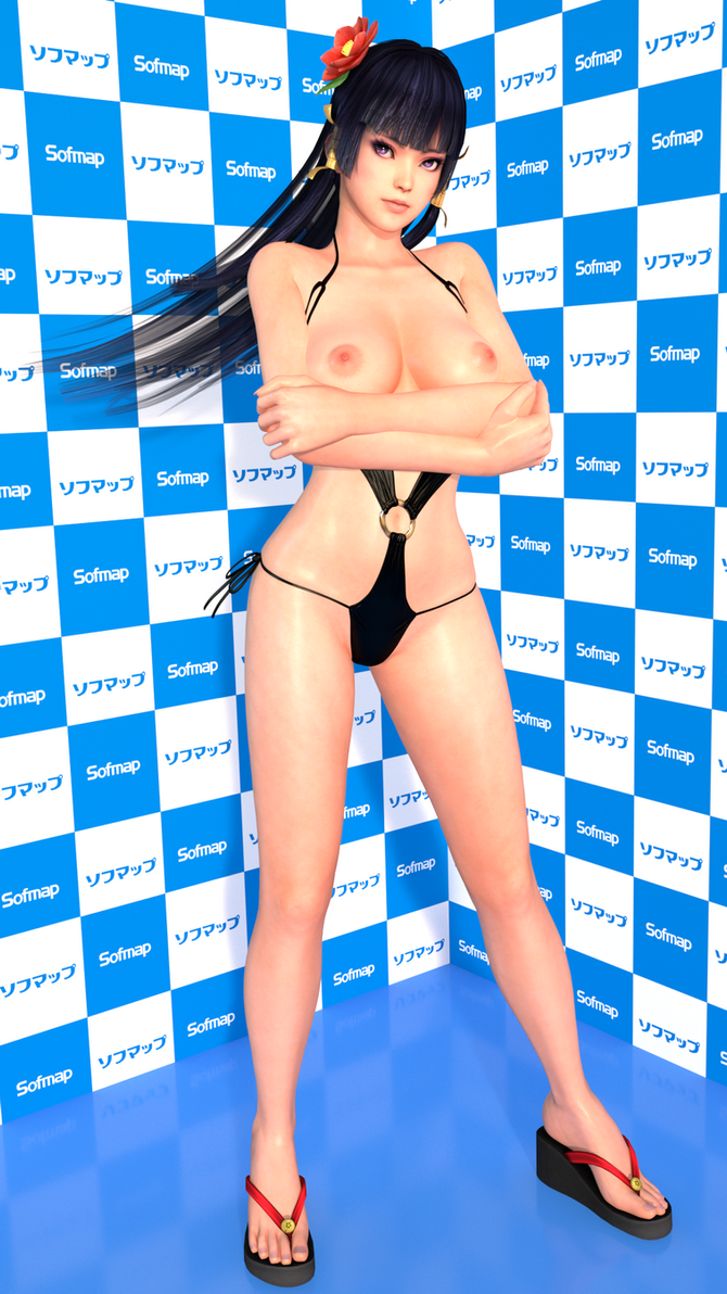 DOA5LR Nyotengu Black Bikini Topless MOD XPS by Deluwyrn