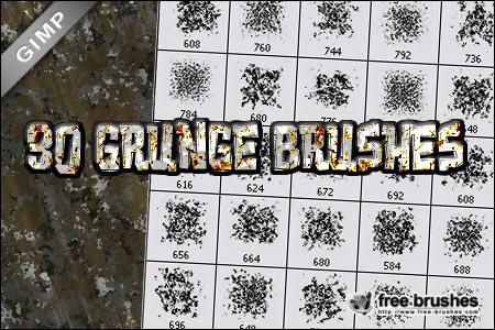 Thirty Grunge Brushes - GIMP by free-brushes
