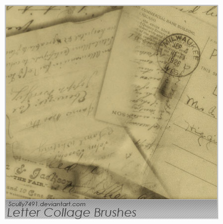 Letter Collage Brushes by Scully7491
