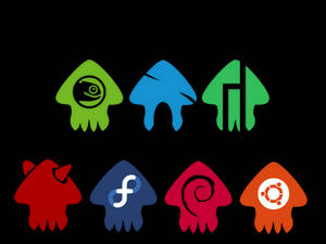 Splatoon inspired squid Linux icons