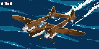 Animated Pixel P-38F Lightning