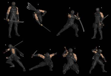 Ryu Hayabusa Pose Pack by WOLFBLADE111