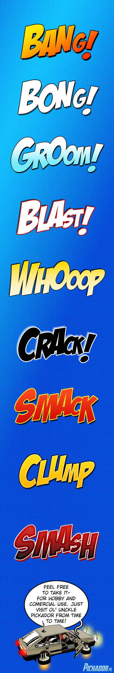 Comics onomatopoeia Photoshop styles