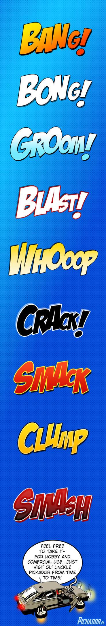 Comics onomatopoeia Photoshop styles by Pickador