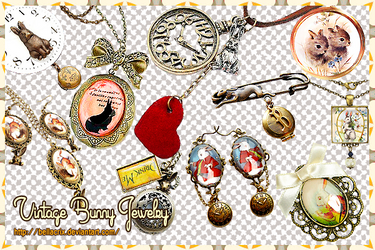 Vintage Bunny Jewelry PNG's by Bellacrix