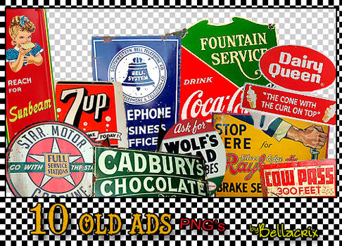 10 Old Ads PNGs