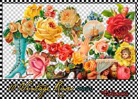 10 Vintage Roses PNGs