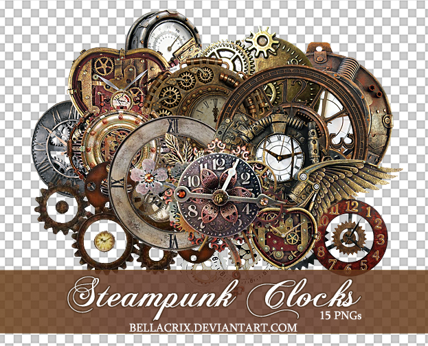 Steampunk clocks 2 pngs by bellacrix on deviantart for Craft fairs near me november 2017