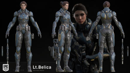 Paragon:Lt.Belica 3D model for XNALara and Blender by g1pno