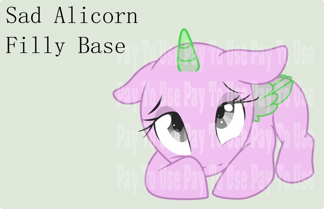 Pay To Use Base: Sad Alicorn Filly by TheShadowStone