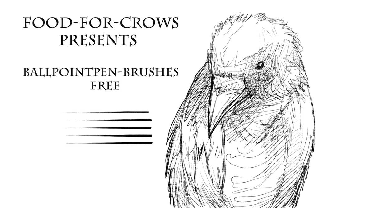 Ballpointpen brushes free by food for crows