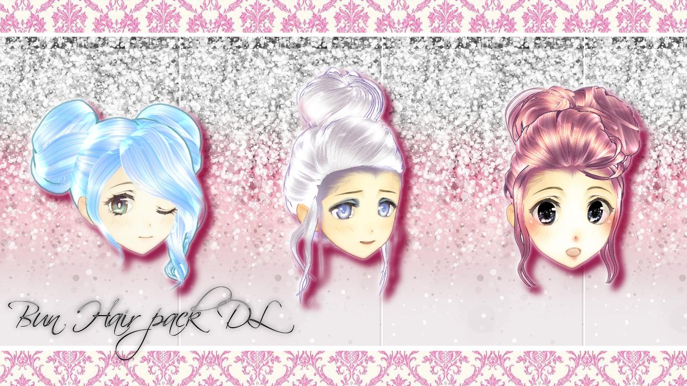 [MMD] Hair bun pack -DL- by DeidaraChanHeart